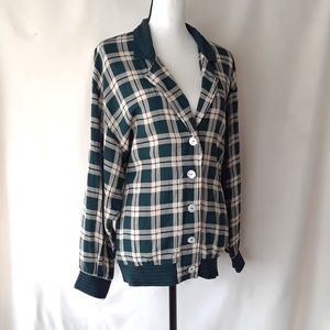 VTG 90's Teal Plaid Button Down Light Sweater Top